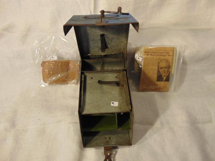 Sheboygan Falls 1890's rural route metal postal box by Chase Mayer for C.C. Granger, with documentation and photographs of postal carriers instructions, and news paper article.