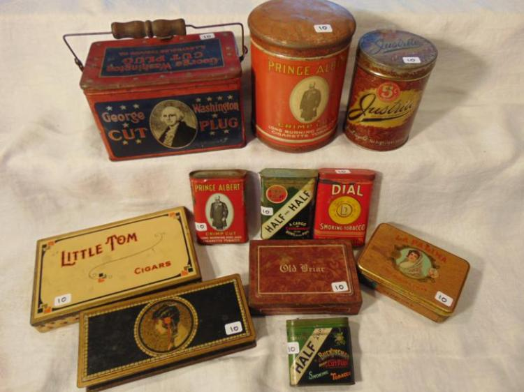 Tobacco tins, antique, to include: George Washington Cut Plug w/ bailed handles: Prince Albert; Justrite 5 Cent; Little Tom Cigars; Art Noveau; Half and Half: Dial; La Palina; and Old Briar.