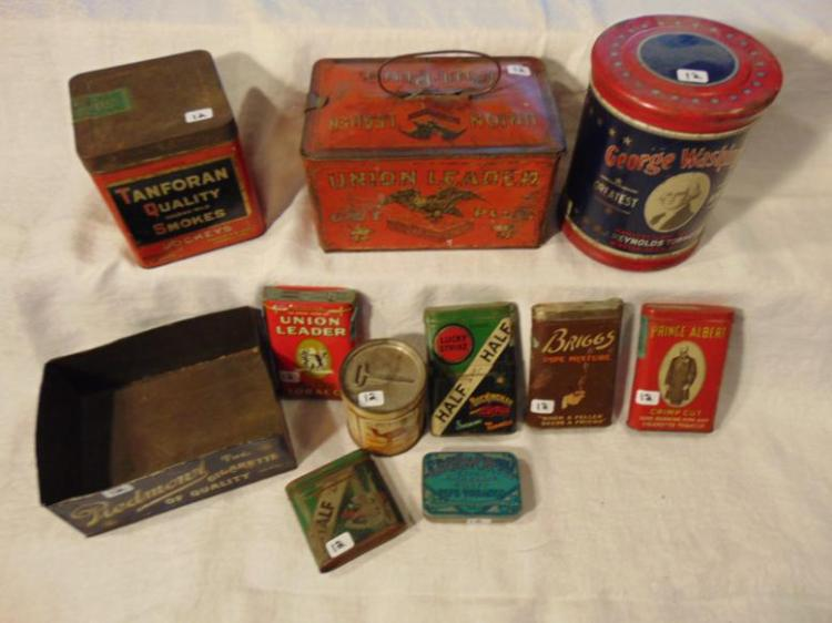 Tobacco tins, antique, to include: Tanforan Quality Havana Mild Smokes; Union Leader Cut Plugs; George Washington Piedmona Cigars; Camel; Half and Half; Prince Albert; Briggs; and Edgeworth.