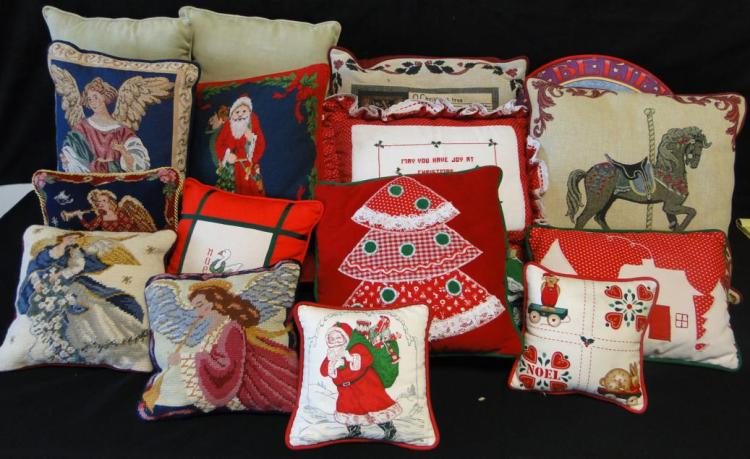 16 Pillows To Include Needle Point And Others In A Christmas