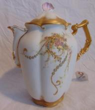 Hand painted and gold decorated Limoges tea pot, unsigned, but artist signed: Matilda Stark, December 25, 1892, in excellent condition (8