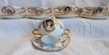 5 Haviland France portrait bouillon cups w/saucers, hand painted, depicting young beauties (2.5