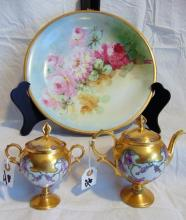 Large Limoges France hand painted floral charger depicting roses (12