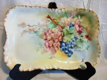 Limoges France, large hand painted serving platter with grapes (16