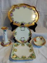 Limoges France dresser tray depicting violets (12.5