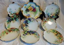 Haviland Limoges 8 matching, hand painted luncheon plates (7