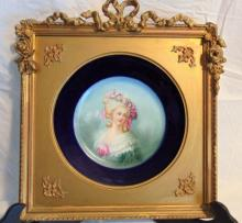 Limoges hand painted and framed portrait plate depicting a young beauty in quality gold-leafed frame (8