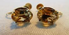 Cut citrine earrings in 14K gold mounts w/applied clip on backs (not gold).