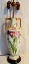 Limoges hand painted vase with poppies, converted into a lamp, of important size (36