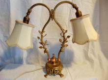 1920's double sided vermeil desk lamp with floral trims, in good condition (18