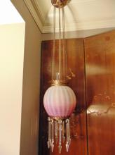 Rare, pink opalescent floral acid cutback ball kerosene hall fixture of important size, all original, with zipper cut prisms.