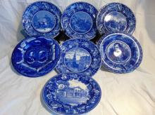 Group of 7 flow blue plates, to include: 6 Staffordshire England flow blue historical plates, depicting Boston Massacre, Battle of Bunker Hill, Robert Burns, Taft & Sherman, Landing of the Pilgrims, and Old South Church Boston, MA (10