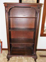 Mahogany pillared front adjustable bookcase, original finish (46