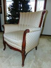 1930's channel back French carved armchair (34
