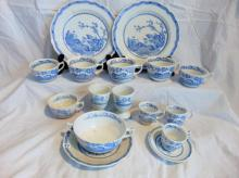 Group of Furnivals Quail in blue, Made in England, 1913, w/registry mark, consisting of: 2 dinner plates; 3 coffee cups (chip on 1); 3 tea cups (chip on 1); 2 egg cups; double-handled cream soup w/under plate; along with a demitasse cup w/saucer and 2 other demitasse cups.
