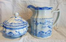 Group of Furnivals Quail in blue, Made in England, 1913, w/registry mark, consisting of: cream pitcher; along with a small covered sauce server. Both in good condition.