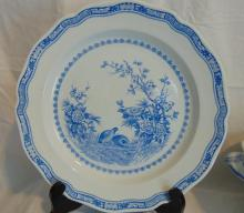 Furnivals Quail in blue, Made in England, 1913, w/registry mark,  large round serving plate, in good condition (12.5