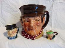 Group of 3 Royal Daulton mugs, including rare miniatures: Sam Weller, and 2 other rare miniatures.