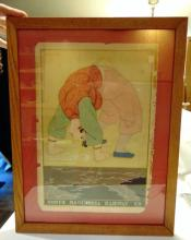 Railroad poster from the 1920's for the South Manchuria Railroad Co in China, framed (14