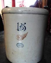 Red Wing 15 gallon bailed handled crock w/full Red Wing mark, minor interior rim chip noted.