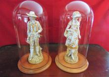 Pair of German Parian large figurines of gentleman and young beauty (17.5