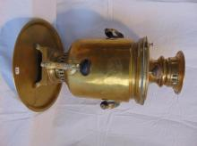 Russian brass samovar w/under tray, Insignia stamped on front (19