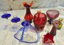 Mid-century modern glass to include: graduated cobalt candlesticks, ribbon cobal