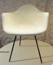 Eames Herman Miller Fiberglass Armchair marked 11/4/1957, off white in color