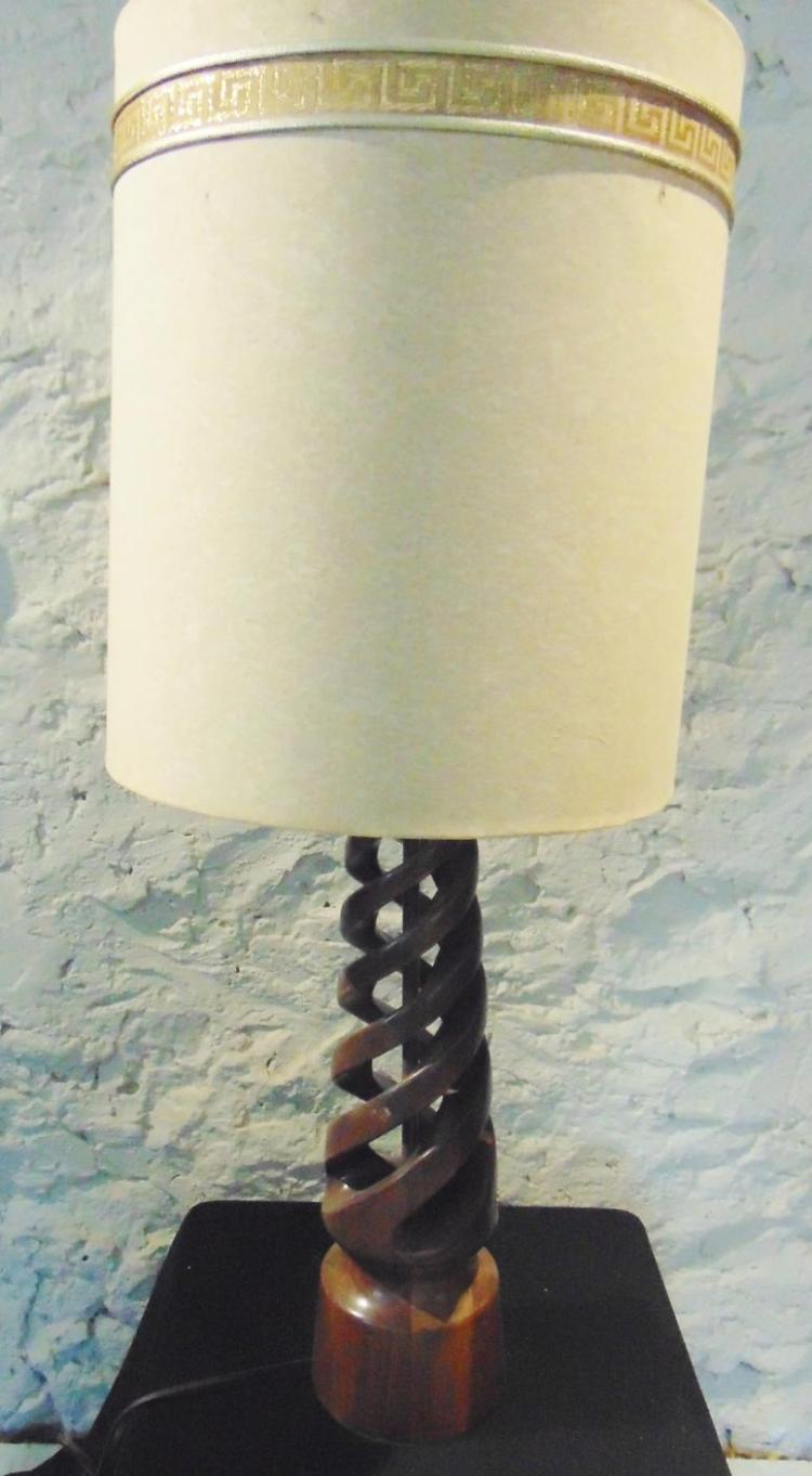 MCM wood barley twist oversized table lamp with shade in walnut. This lamp measu