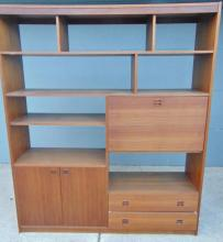 Danish room divider with shelves and compartments in teak wood with desk section