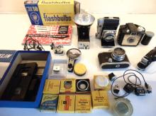 Box with cameras and miscellaneous; cameras to include a Kodak, Retina in good c
