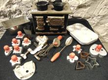 Victorian doll stove entitled Venus, missing chimney and cook stove covers; Meas