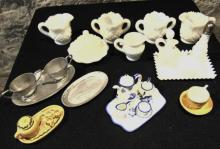 Group of milk glass and other miniature doll dishes to include covered butters,