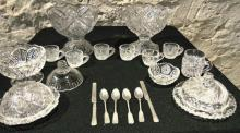 Miniature pressed glass doll dishes to include two punch bowls to include six cu