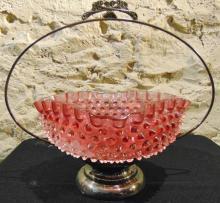 Oversized cranberry opalescent hobnail bride's basket in frame, interior flake n