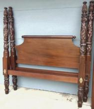 Early deeply acanthus and pineapple carved Mahogany four poster bed in excellent