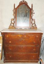 Victorian white marble top five drawer dresser with mirror