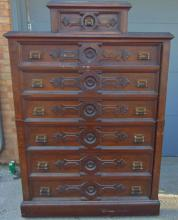 Quality oversized Victorian lock side dresser with seven drawers, tier drop pole