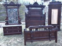 Herter Brothers attributed three piece bedroom suite