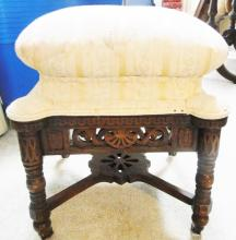 High grade Victorian slipper stool with pierced carvings in original finish; som