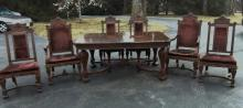 Outstanding Circassian 1890's-1900's elaborately carved dining set consisting of