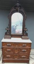 Quality Victorian white marble top dresser with fruit carved mirror and pulls in