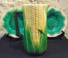 Majolica corn pitcher in good condition; along with two Majolica small leaf plat