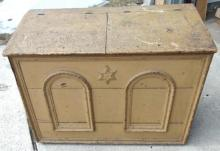 Folk art primitive double-sided  wood bin or flour bin with star decorations and