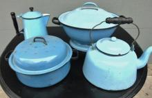 Lot of blue graniteware to include: coffee pot, handled covered kettle, large te
