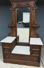 Quality Victorian white marble top drop well dresser with elaborate mirror with