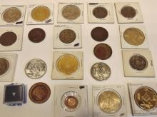 Group of early Mason coins to include; one penny, sun penny, membership medallio