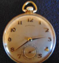 Late 1920's - Early 1930's Hamilton heavy rolled gold watch with diamond inset,