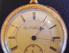 1880's Elgin national watch company, heavy filigreed over rolled gold large pock