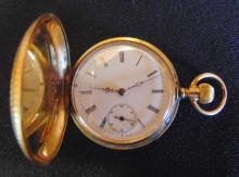 Presentation floral chased and enameled lodge watch with a  very fine hunting ca